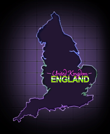 new england: England map eighties led advertisment style