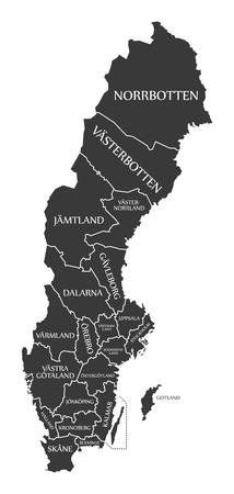 Sweden Map labelled black illustration Vettoriali