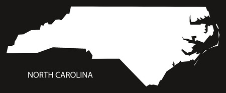 North Carolina USA Map Black Inverted Silhouette Royalty Free - North carolina in us map
