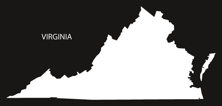 Virginia USA Map Black Inverted Silhouette Royalty Free Cliparts - Virginia on us map