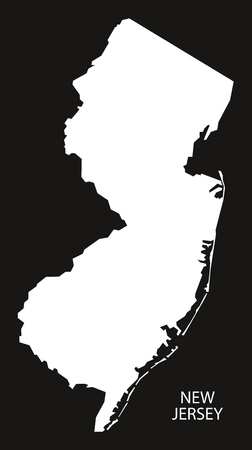 jersey city: New Jersey USA Map black inverted silhouette