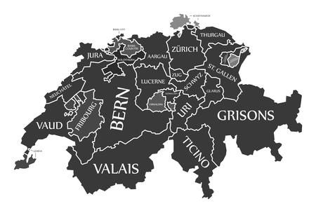 Switzerland Map labelled black illustration in English language
