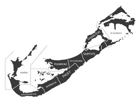 counties: Bermuda Map labelled black illustration Illustration