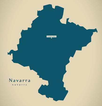 Modern Map - Navarra Spain ES illustration