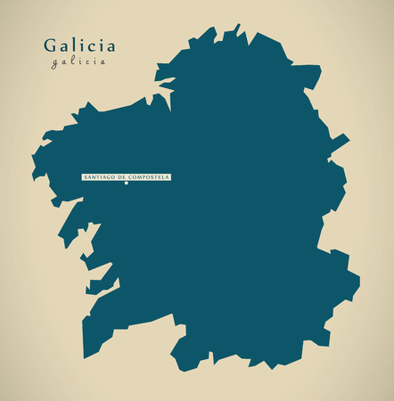 Modern Map - Galicia Spain ES illustration
