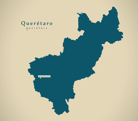 Modern Map - Queretaro Mexico MX illustration