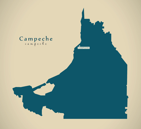 Modern Map - Campeche Mexico MX illustration Stock fotó - 72993486