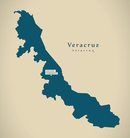 Modern Map - Veracruz Mexico MX illustration
