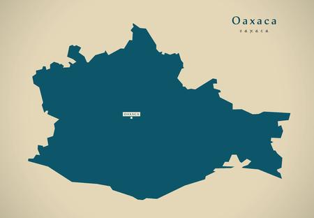 Modern Map - Oaxaca Mexico MX illustration 免版税图像 - 72942239