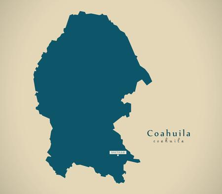 Modern Map - Coahuila Mexico MX illustration