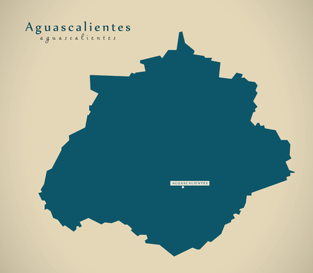 Moderne Kaart - Aguascalientes Mexico MX illustratie