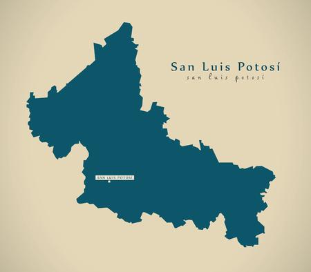 Moderne kaart - San Luis Potosi Mexico MX illustratie