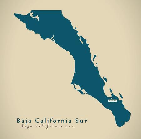 Moderne Kaart - Baja California Sur Mexico MX illustratie Stockfoto