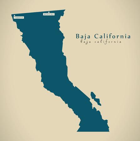 Moderne kaart - Baja California Mexico MX illustratie