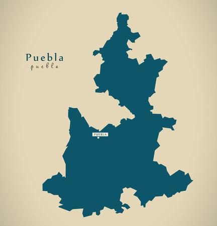 Moderne kaart - illustratie Puebla Mexico MX Stockfoto