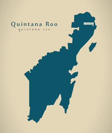 Modern Map - Quintana Roo Mexico MX illustration