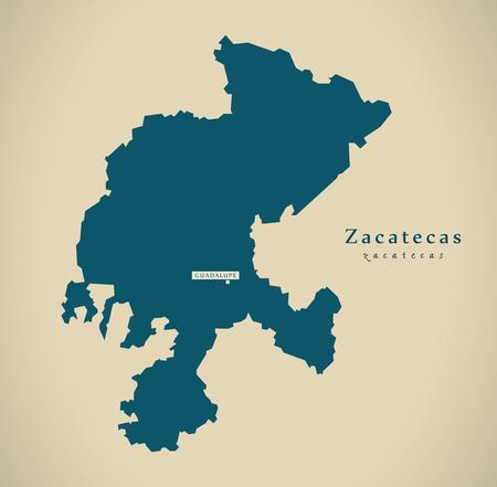 Modern Map - Zacatecas Mexico MX illustration 免版税图像 - 72941110