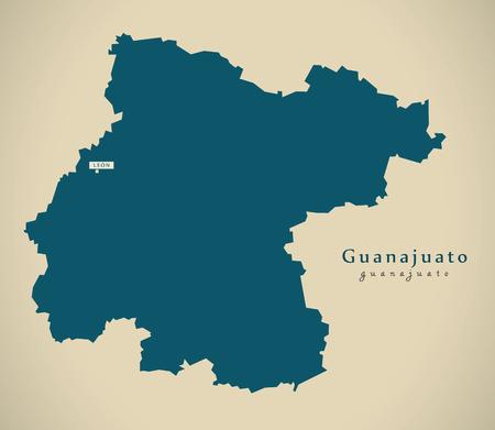Modern Map - Guanajuato Mexico MX illustration