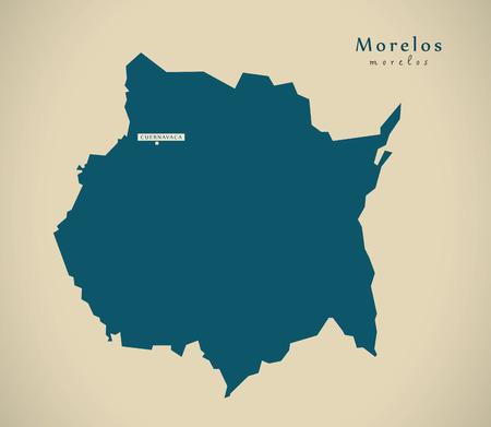 morelos: Modern Map - Morelos Mexico MX illustration Stock Photo