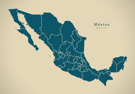 mx: Modern Map - Mexico with federal states MX illustration