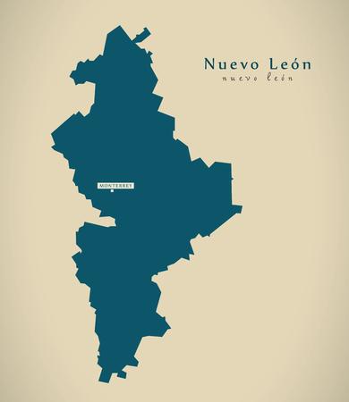 Moderne Kaart - Nuevo Leon Mexico MX illustratie Stockfoto