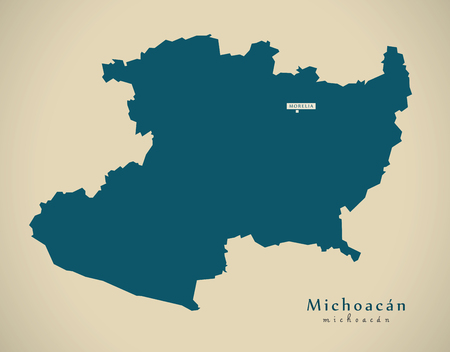 mx: Modern Map - Michoacan Mexico MX illustration