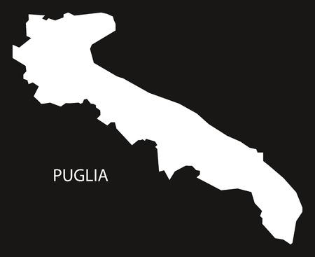 Puglia Italy Map black inverted silhouette