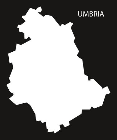Umbria Italy Map black inverted silhouette.