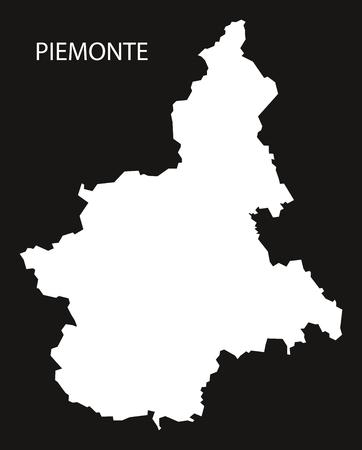 Piemonte Italy Map black inverted silhouette