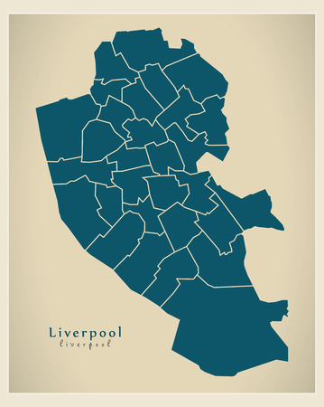 liverpool: Modern City Map - Liverpool with boroughs illustration