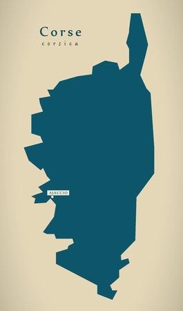 Modern Map - Corse France FR illustration Stock Photo