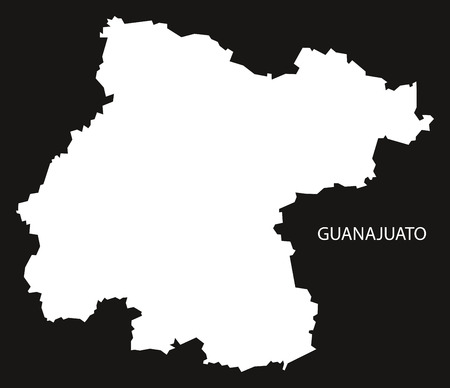 Guanajuato Mexico Map black inverted silhouette Vettoriali