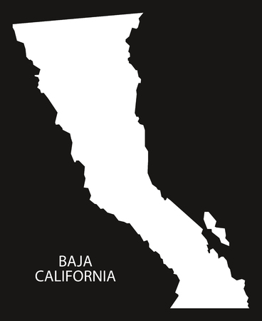 Baja California Mexico Map black inverted silhouette