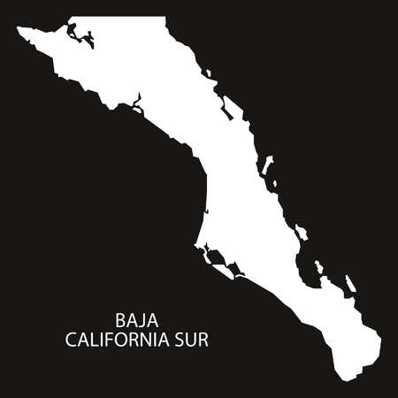 Baja California Sur Mexico Map black inverted silhouette