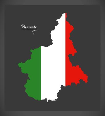 Piemonte map with Italian national flag illustration Ilustração