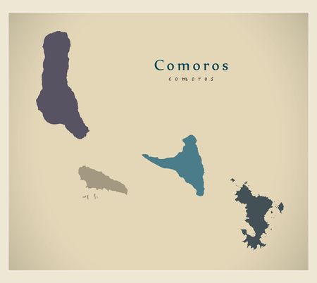 mayotte: Modern Map - Comoros colored KM