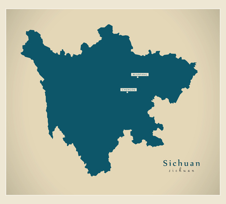 Modern Map - Sichuan CN region illustration silhouette