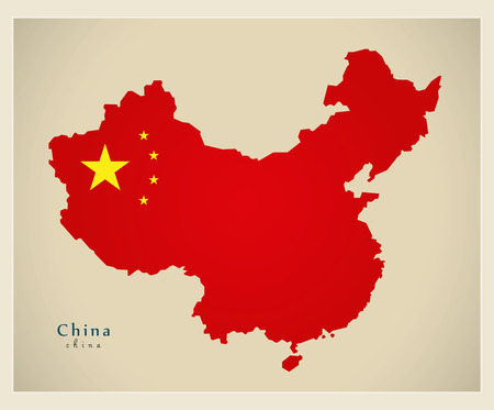 Modern Map - China with national flag CN illustration