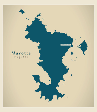 mayotte: Modern Map - Mayotte KM Illustration