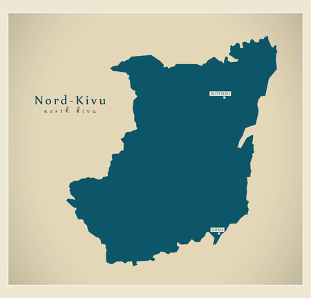 Modern Map - Nord-Kivu CD province illustration silhouette