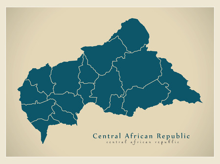 Modern Map - Central African Republic with prefectures CF Illustration