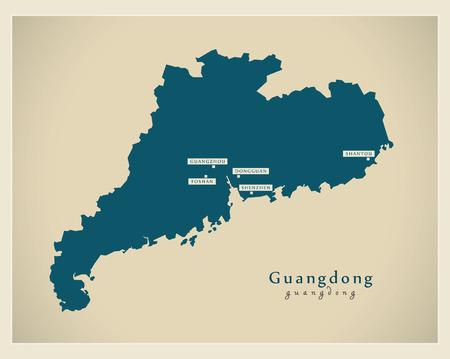Modern Map - Guangdong CN region illustration silhouette