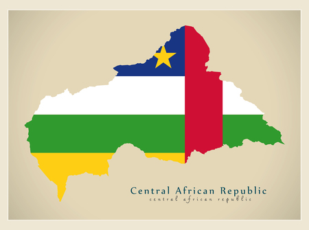 counties: Modern Map - Central African Republic flag colored CF