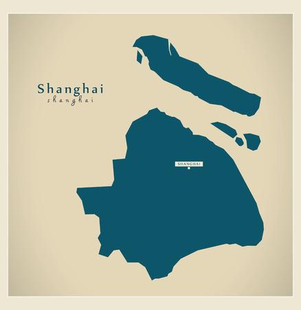Modern Map - Shanghai CN region illustration silhouette
