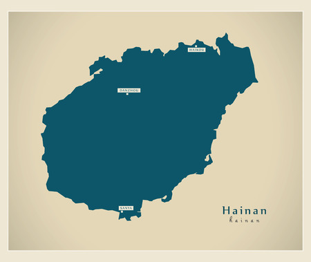 Modern Map - Hainan CN region illustration silhouette