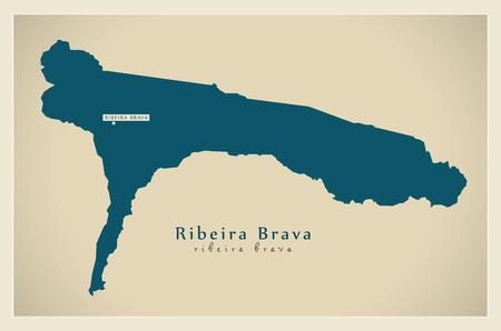 praia: Modern Map - Ribeira Brava CV