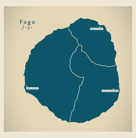 Modern Map - Fogo with municipalities CV Illustration