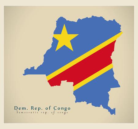 Modern Map - Congo Democratic Republic flag colored CD