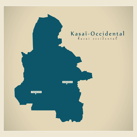 Modern Map - Kasai-Occidental CD province illustration silhouette