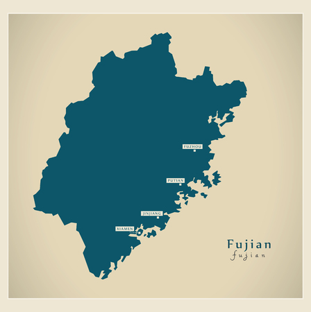 Modern Map - Fujian CN region illustration silhouette Illustration